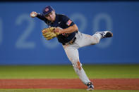 United States' Nick Allen throws during the third inning of a baseball game against Israel at the 2020 Summer Olympics, Friday, July 30, 2021, in Yokohama, Japan. (AP Photo/Sue Ogrocki)