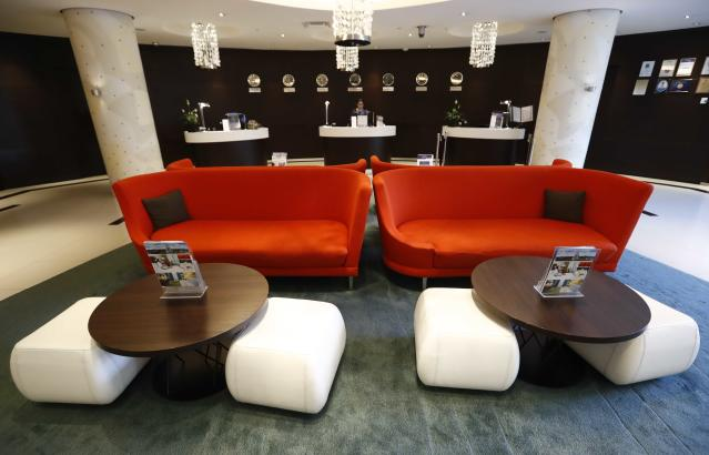 An interior view shows the reception area of the Radisson Blu hotel, which was chosen to be the venue specific team hotel during the 2018 FIFA World Cup, in Kaliningrad, Russia April 12, 2018. REUTERS/Sergei Karpukhin