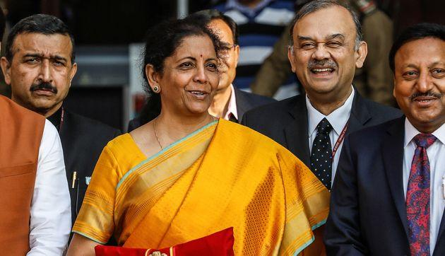 India's Finance Minister Nirmala Sitharaman during a photo opportunity before Budget 2020.
