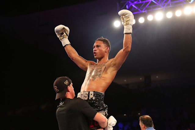 Regis Prograis celebrates after defeating Juan Jose Velasco during their WBC super lightweight title boxing match at the UNO Lakefront Arena on July 14, 2018, in New Orleans. (Getty Images)