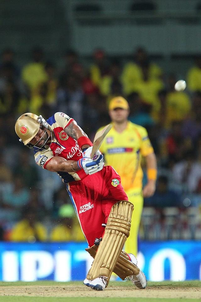 Virat Kohli hits over the top for six during match 16 of the Pepsi Indian Premier League between The Chennai Superkings and the Royal Challengers Bangalore held at the MA Chidambaram Stadiumin Chennai on the 13th April 2013..Photo by Ron Gaunt-IPL-SPORTZPICS  .. .Use of this image is subject to the terms and conditions as outlined by the BCCI. These terms can be found by following this link:..https://ec.yimg.com/ec?url=http%3a%2f%2fwww.sportzpics.co.za%2fimage%2fI0000SoRagM2cIEc&t=1503433926&sig=wAUc0Y8tR4MUzVFzmPv4qA--~D