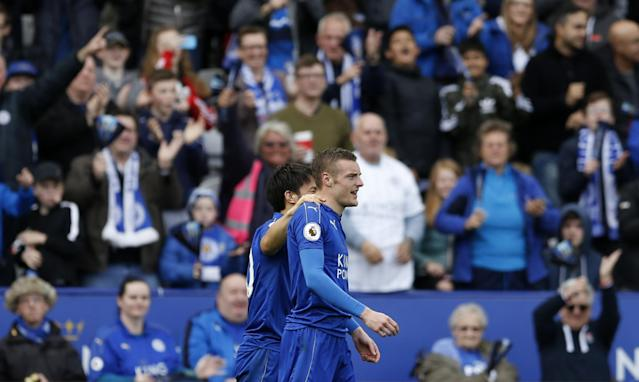 <p>Leicester City's Jamie Vardy celebrates after scoring their second goal </p>