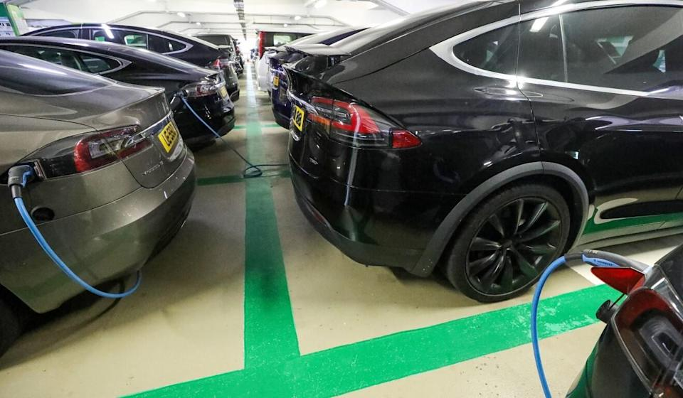 An electric vehicle charging facility at a car park in Central. Photo: Dickson Lee