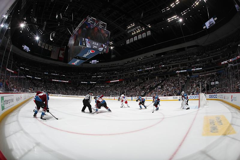 DENVER, COLORADO - MARCH 11: Members of the Colorado Avalanche face-off against the New York Rangers at Pepsi Center on March 11, 2020 in Denver, Colorado. (Photo by Michael Martin/NHLI via Getty Images)