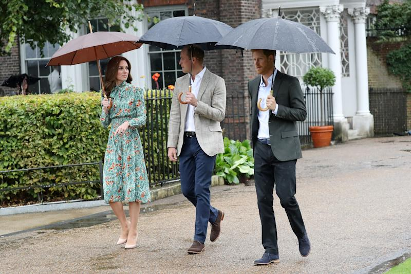 during a visit to The Sunken Garden at Kensington Palace on August 30, 2017 in London, England. The garden has been transformed into a White Garden dedicated in the memory of Princess Diana, mother of The Duke of Cambridge and Prince Harry.