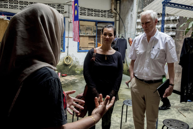 "In this hand out picture taken Tuesday, Aug. 13, 2019, show Philip Alston, the U.N. rapporteur on extreme poverty and human rights, visiting Kampung Numbak in Sabab, east of Malaysia. Philip Alston, the U.N. rapporteur on extreme poverty and human rights, says Malaysia's official poverty rate, which fell from 49 percent in 1970 to just 0.4 percent in 2016, was ""extremely artificial"" doesn't reflect the cost of living and excluded vulnerable populations. (AP Photo/Bassam Khawaja via )"