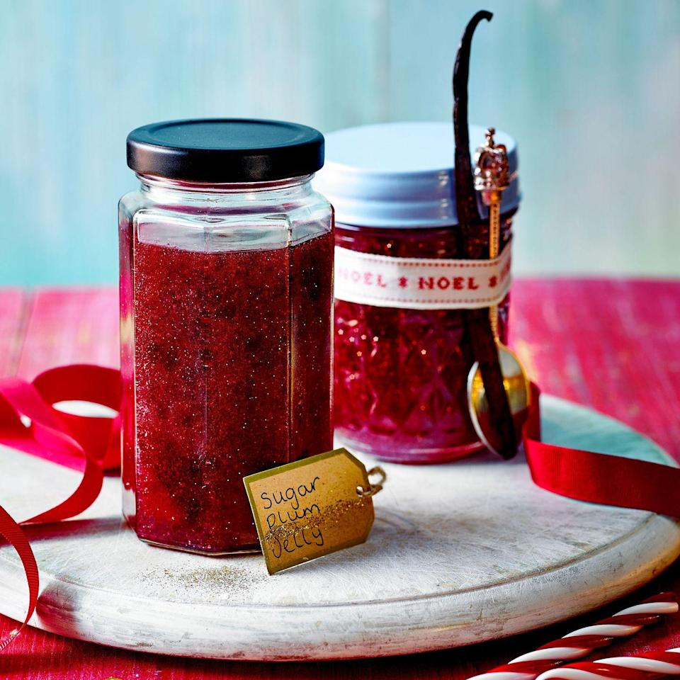 """<p>Inspired by that Christmas classic, The Nutcracker, our fictional preserve is a softly set blend of plums, raspberries, prosecco and sweet spices in a sparkly spread, perfect for toast or spooning on rice pudding. Check the glitter you are using isn't soluble otherwise it may dissolve and disappear!<a href=""""https://www.goodhousekeeping.com/uk/christmas/christmas-recipes/a34771451/sugar-plum-fairy-jelly/"""" rel=""""nofollow noopener"""" target=""""_blank"""" data-ylk=""""slk:"""" class=""""link rapid-noclick-resp""""><br></a></p><p><strong><a href=""""https://www.goodhousekeeping.com/uk/christmas/christmas-recipes/a34771451/sugar-plum-fairy-jelly/"""" rel=""""nofollow noopener"""" target=""""_blank"""" data-ylk=""""slk:Recipe: Sugar Plum Fairy Jelly"""" class=""""link rapid-noclick-resp"""">Recipe: Sugar Plum Fairy Jelly</a></strong></p>"""