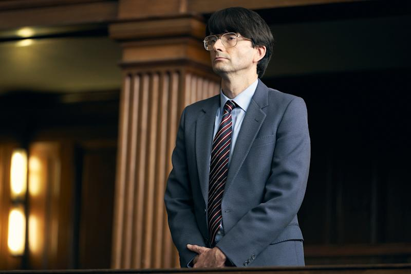 David Tennant as Nilsen on trial for murder. (ITV)