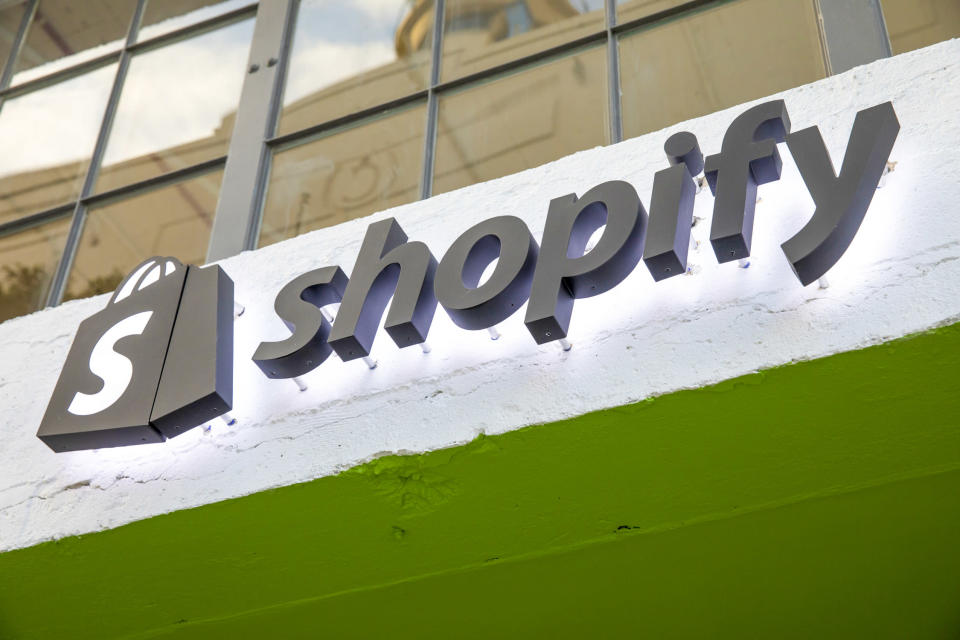 The Shopify logo at the entrance to its Los Angeles campus.