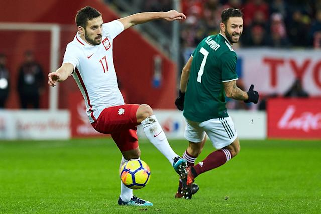Soccer Football - International Friendly - Poland vs Mexico - Energa Stadium, Gdansk, Poland - November 13, 2017 Poland's Maciej Makuszewski in action with Mexico's Miguel Layun Agencja Gazeta/Jan Rusek via REUTERS POLAND OUT. NO COMMERCIAL OR EDITORIAL SALES IN POLAND THIS IMAGE HAS BEEN SUPPLIED BY A THIRD PARTY.