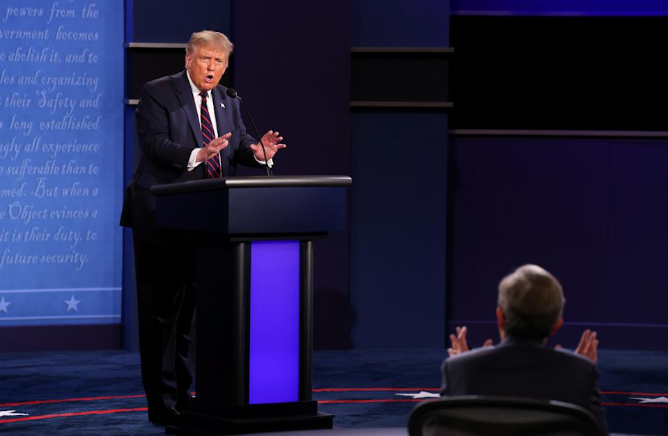President Trump bickering with debate moderator Chris Wallace. (Jonathan Ernst/Reuters)