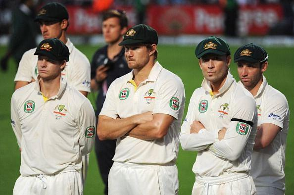 Michael Clarke (2ndR) of Australia looks dejected with team mates Steve Smith, Shane Watson and Phil Hughes during the presentation on day five of the 5th Investec Ashes Test match between England and Australia at the Kia Oval on August 25, 2013 in London, England. (Getty Images)