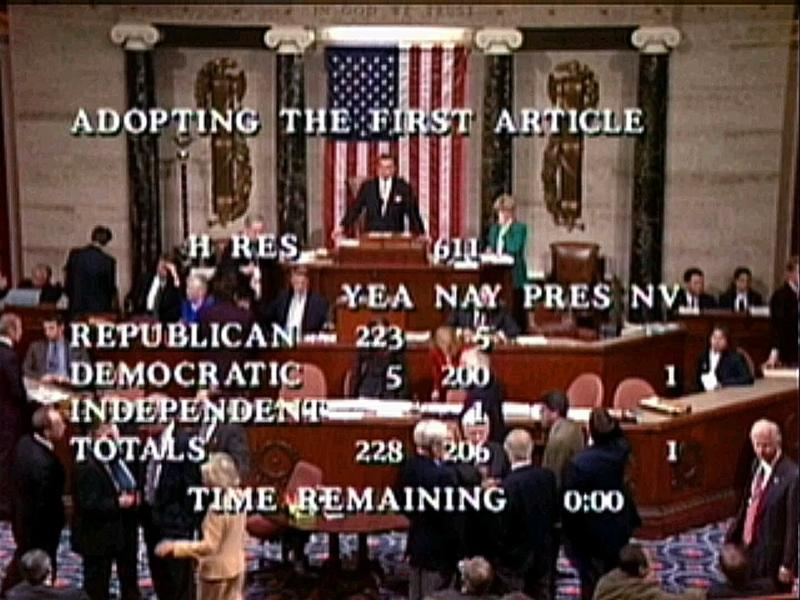 FILE - In this Dec. 19, 1998, file image from video, Speaker Pro Tempore Rep. Ray LaHood, R-Ill., prepares to announce the House vote of 228-206 to approve the first article of impeachment, accusing President Bill Clinton of committing perjury before a federal grand jury in Washington. Twenty-one years ago this Thursday, a Republican-led House voted to impeach Clinton. While that battle was bitterly partisan, it was blurrier than the clean, near party-line votes expected this week when the chamber _ now run by Democrats _ is poised to impeach President Donald Trump. (AP Photo/APTN)