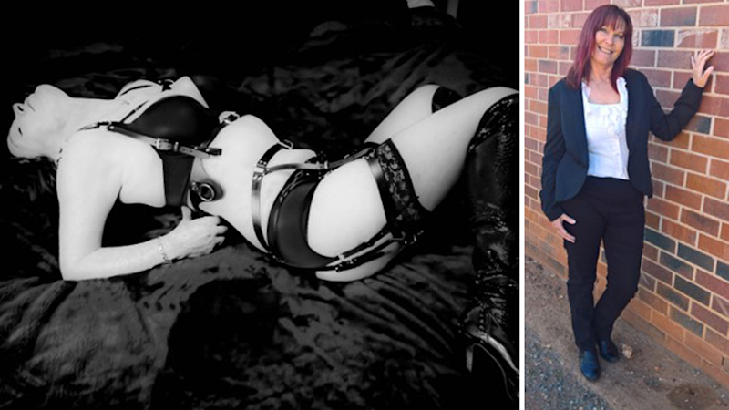 Split screen. Left - black and white image of Taylor Tara wearing underwear and lying on a bed. Right. Taylor Tara wears a suit and stands next to a brick wall.