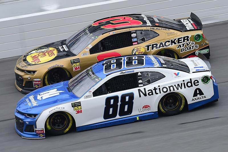 DAYTONA BEACH, FL - FEBRUARY 10: Alex Bowman, driver of the #88 Nationwide Chevrolet, races Austin Dillon, driver of the #3 Dow Chevrolet, during the Monster Energy NASCAR Cup Series Advance Auto Parts Clash at Daytona International Speedway on February 10, 2019 in Daytona Beach, Florida. (Photo by Jared C. Tilton/Getty Images)