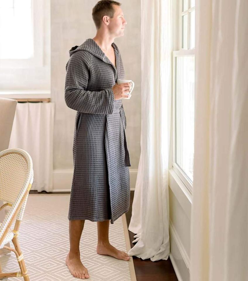 """<p><strong></strong></p><p>turkish-t.com</p><p><strong>$110.00</strong></p><p><a href=""""https://www.turkish-t.com/collections/bathrobes/products/waffle-weave-bathrobe"""" target=""""_blank"""">Shop Now</a></p><p>The ultra-lightweight and soft bathrobes by Turkish T are so comfortable, you'll have to wrestle with him to get him to change into anything else. Bonus points for a hood. </p>"""