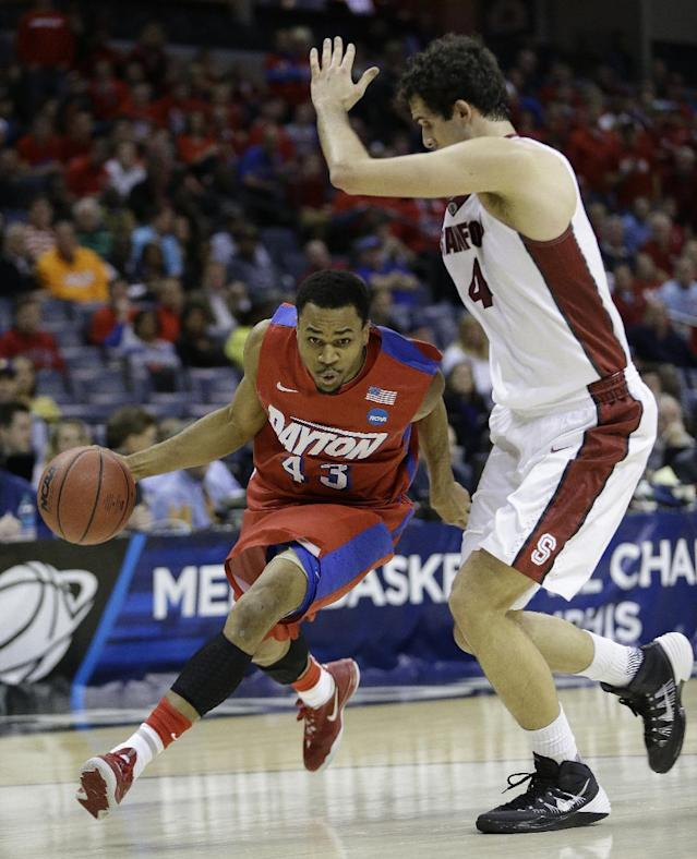 Dayton guard Vee Sanford (43) moves the ball on Stanford center Stefan Nastic (4) during the first half in a regional semifinal game at the NCAA college basketball tournament, Thursday, March 27, 2014, in Memphis, Tenn. (AP Photo/Mark Humphrey)