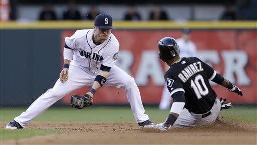 Chicago White Sox's Alexei Ramirez (10) steals second base as Seattle Mariners shortstop Brendan Ryan turns to put on a tag in the second inning of a baseball game Tuesday, June 4, 2013, in Seattle. (AP Photo/Elaine Thompson)