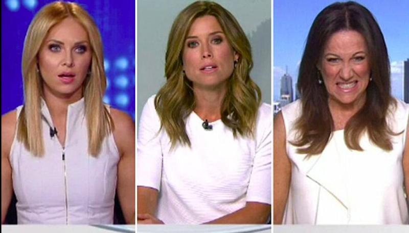Earlier this month footage was leaked of Channel Nine newsreaders Amber Sherlock and Julie Snook locking horns over their white wardrobe. Source: Nine