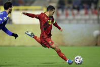 Belgium's Eden Hazard attempts a shot at goal during the Euro 2020 group I qualifying soccer match between Belgium and Cyprus at the King Baudouin stadium in Brussels, Tuesday, Nov. 19, 2019. (AP Photo/Francisco Seco)