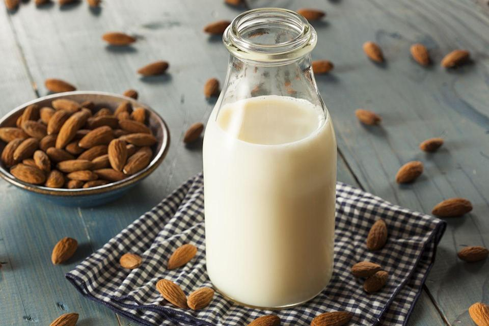 "<p>Not all nut milks are created equal. ""Flavored and sweetened <u><a href=""https://www.prevention.com/food-nutrition/a20516813/best-milk-alternatives/"" rel=""nofollow noopener"" target=""_blank"" data-ylk=""slk:milk substitutes"" class=""link rapid-noclick-resp"">milk substitutes</a></u> line supermarket shelves, making it difficult to choose the healthiest option,"" Fisher says. </p><p>She suggests snagging a cardio-protective nut milk, such as unsweetened almond milk. Additions, like chocolate and vanilla flavoring, can quickly crank up the calories.</p>"