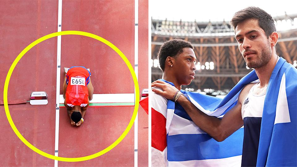 Juan Miguel Echevarria (pictured left) on the floor devastated and (pictured right) gold medalist Miltiadis Tentoglou consoling Echevarria at the Olympics.