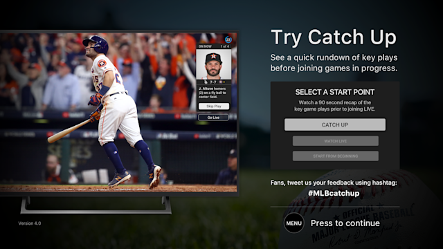 Catch Up, a new feature on MLB.tv (via MLB)