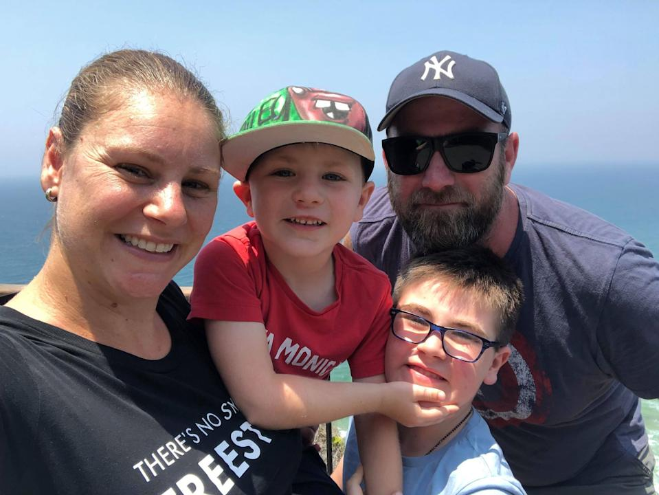 Pictured, left to right, Vanessa, sons Tarek and Riley and husband Nathan.