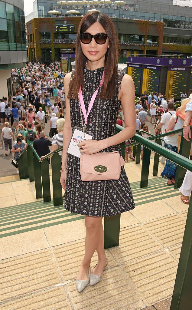 <p>The actor wore a printed shift dress. </p>