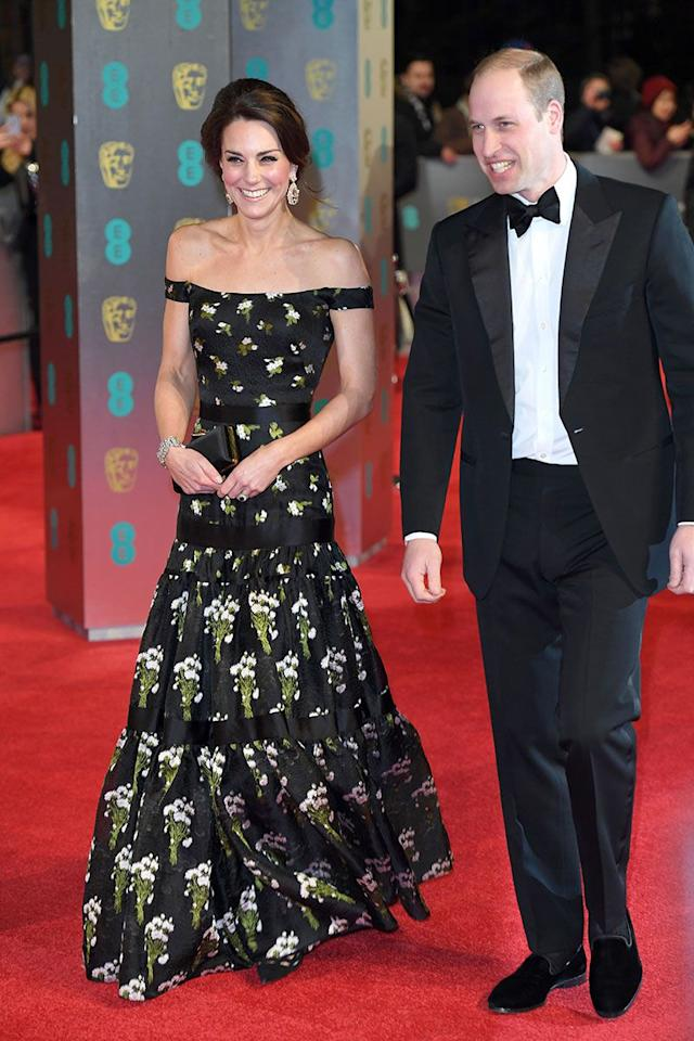 <p>Kate first wore the dress to the BAFTA Awards back in 2017, but the design was slightly different back then thanks to the bardot neckline. She also wore her hair up and added statement earrings. </p>