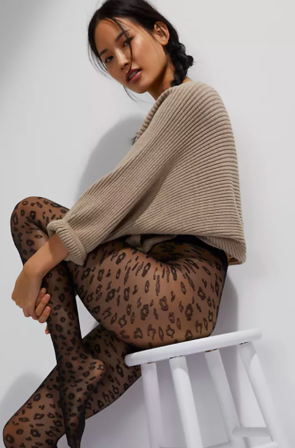 Hansel From Basel Cheetah Opaque Tights. Image via Anthropologie.
