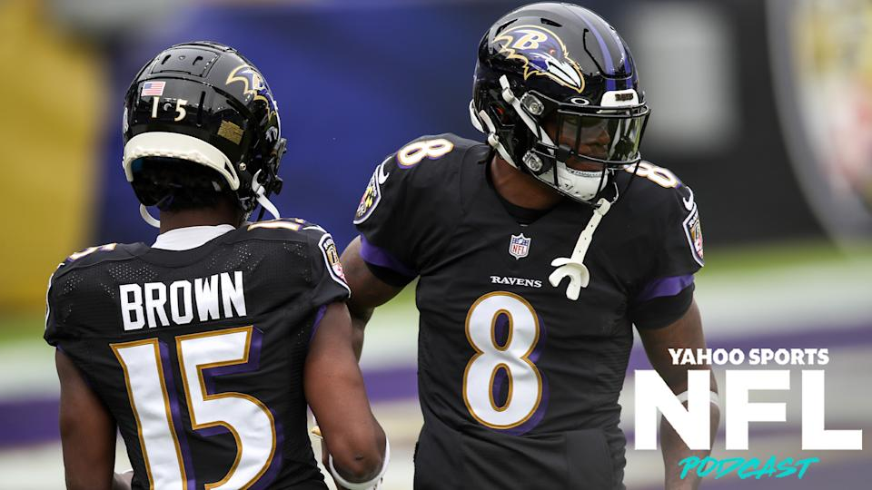 Can Lamar Jackson & Marquise Brown overcome the Tennessee Titans, who dealt them a crushing loss in the playoffs last January? (Photo by Nicole Fridling/Icon Sportswire via Getty Images)