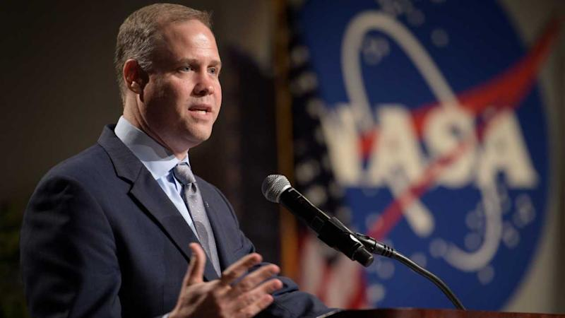 NASA Administrator Jim Bridenstine speaking at the Johnson Space Center in Houston in August 2018. Image credit: NASA