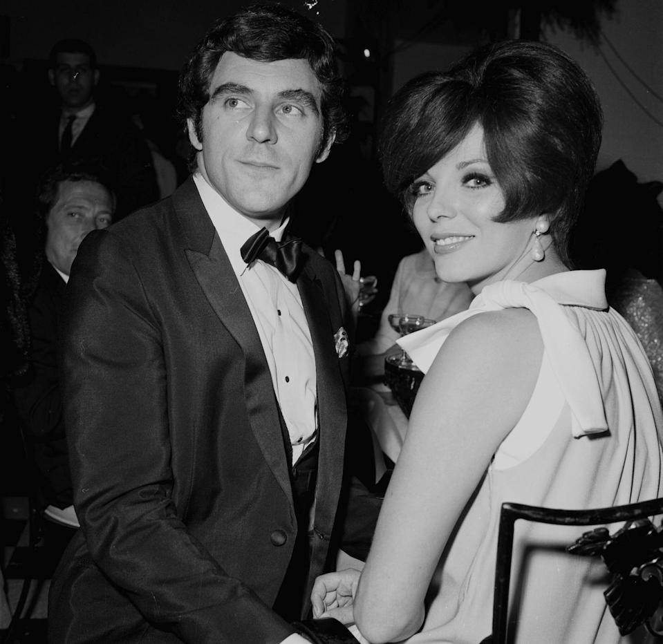 <p>Joan Collins and Anthony Newly attend a dinner in Los Angeles, circa 1967.</p>
