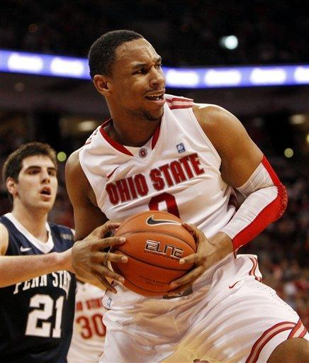 Ohio State's Jared Sullinger (0) pulls down a rebound as Penn State's Sasa Borovnjak (21) looks on during the first half of an NCAA college basketball game on Wednesday, Jan. 25, 2012, in Columbus, Ohio. Ohio State won 78-54. (AP Photo/Terry Gilliam)