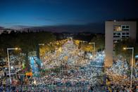 <p>Catalonia's Independence supporters march during a demonstration in Barcelona, Spain. Independence movement associations and political parties called for a march to protest against the prison detentions of the Ousted Catalan Government. (David Ramos/Getty Images) </p>