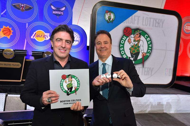 Celtics part-owners Wyc Grousbeck and Stephen Pagliuca pose for a photo after getting the No. 11 pick during the 2017 NBA Draft Lottery. (Jesse D. Garrabrant/NBAE/ Images)