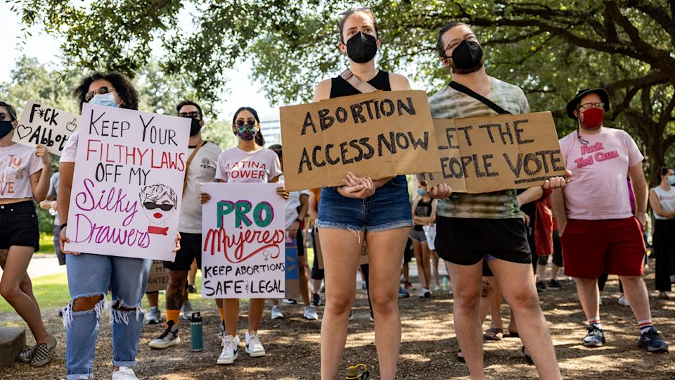 Abortion rights activists rally at the Texas State Capitol on Sept. 11, 2021 in Austin, Texas.