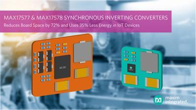 Maxim Integrated's MAX17577 and MAX17578 synchronous inverting DC-DC converters integrate level shifting to reduce components by 50 percent in industrial automation and signal conditioning applications.