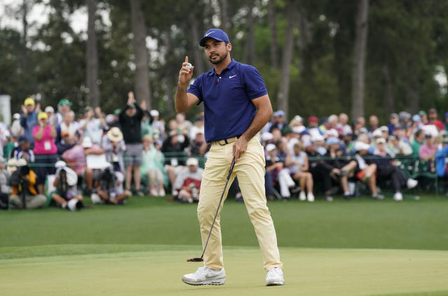 FILE - In this Sunday, April 14, 2019 file photo, Jason Day, of Australia, reacts on the 18th green during the final round for the Masters golf tournament in Augusta, Ga. Day will be part of a Japan Skins game that features Tiger Woods on Oct. 21 before the PGA Tour's first official tournament in Japan. (AP Photo/David J. Phillip, File)