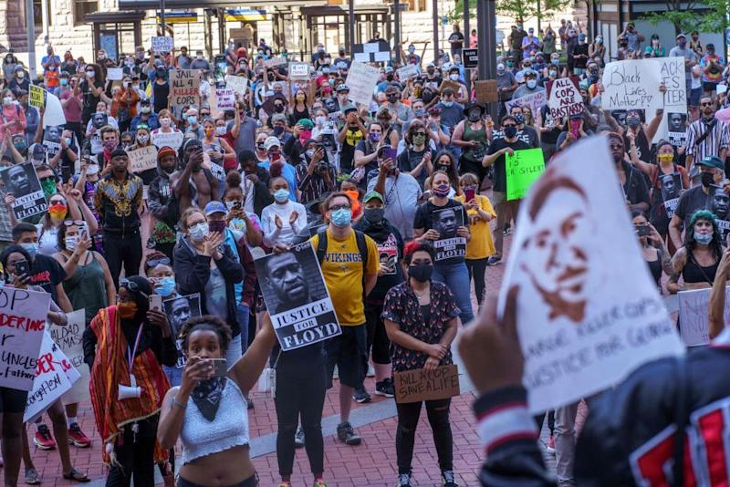 Protesters gather in a call for justice for George Floyd in Minneapolis, Minnesota, on 28 May.