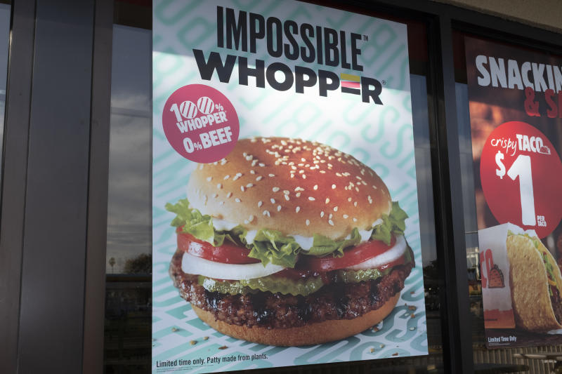 Burger King's vegan Impossible Whopper burger is seen in a store in Sunnyvale, California, United States, on Wednesday, November 20, 2019. A vegan man has sued Burger King, claiming Burger King's Impossible Whoppers are contaminated by meat. Burger King has developed plant-based burger with Impossible Foods. (Photo by Yichuan Cao/NurPhoto via Getty Images)