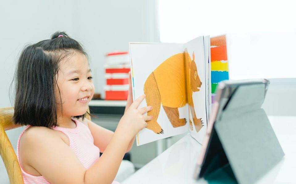 A child holds a picture book in front of a computer.