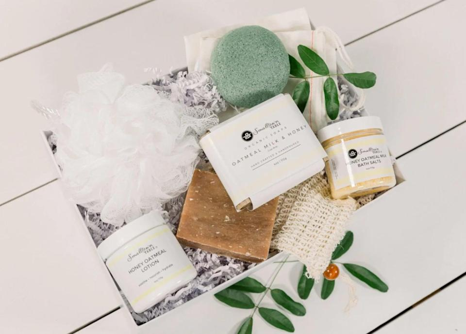 <p>If your loved one needs to prioritize their self-care, the <span> Box of Sunshine Self Care Gift</span> ($40) is a must. It's got everything they need to give themselves a spa day at home, including a handmade honey oatmeal milk soap bar, bath salts, body lotion, a konjac sponge, lip balm, and more.</p>