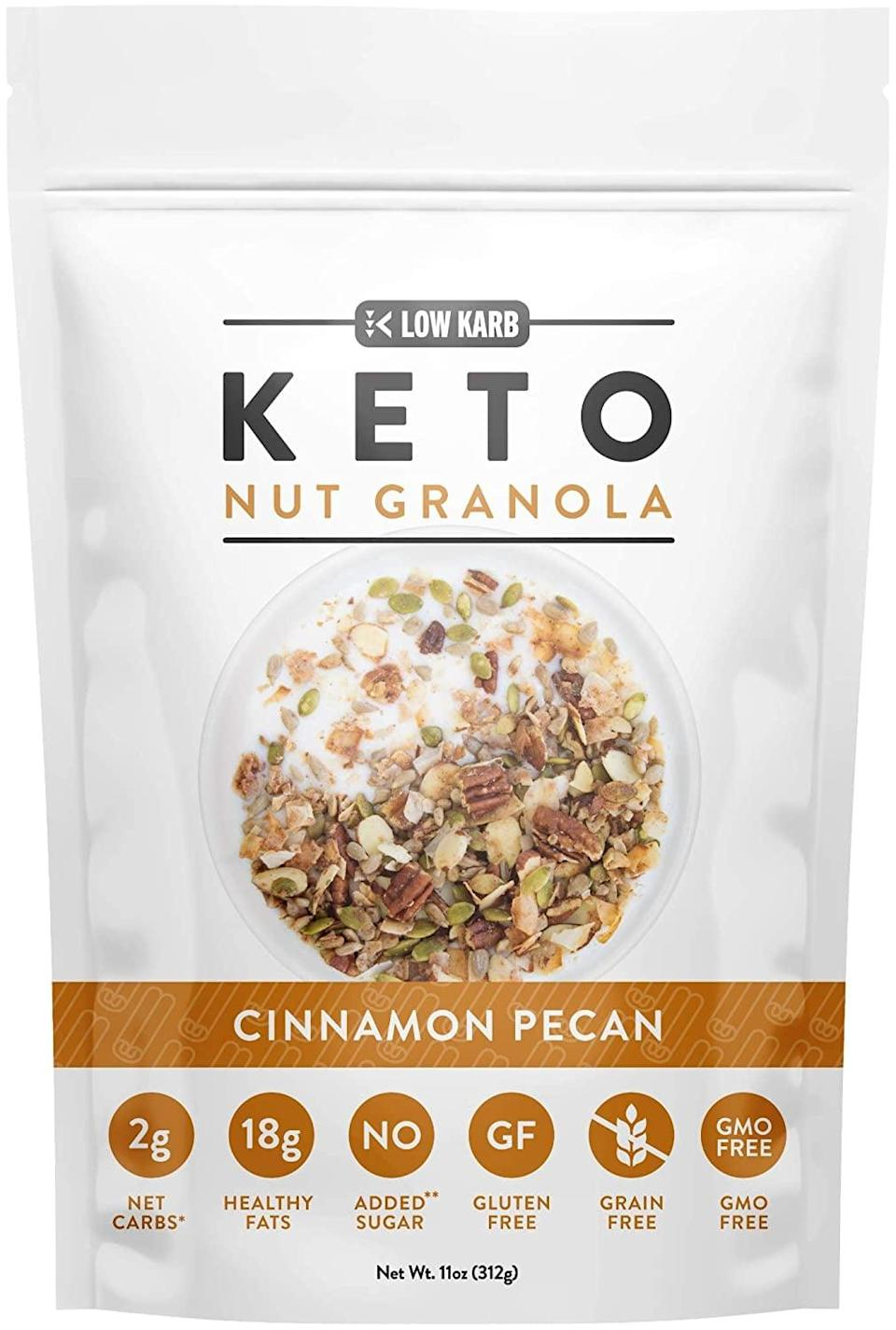 <p>With only two net carbs, this <span>Low Karb Keto Cinnamon Pecan Granola</span> ($13) is a healthy, yummy choice.</p>