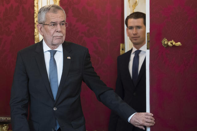Austrian President Alexander Van der Bellen, right, and Austrian Chancellor Sebastian Kurz, left attending an inauguration ceremony at Hofburg palace in Vienna, Austria, Tuesday, May 21, 2019. Austrian Chancellor Sebastian Kurz has called for an early election after the resignation of his vice chancellor Heinz-Christian Strache from the Freedom Party spelled an end to his governing coalition. (AP Photo/Michael Gruber)