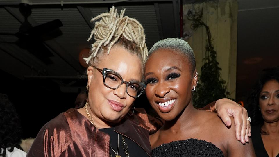 """Kasi Lemmons and Cynthia Erivo attend the after party of Focus Features' """"Harriet"""" premiere. (Photo by Rachel Luna/Getty Images)"""
