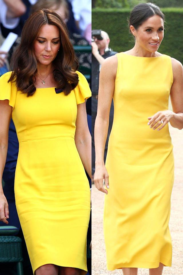 """<p>Meghan wore yellow for the first time since becoming a royal when she attended the Your Commonwealth Youth Challenge on July 5, and Kate wore it immediately after at Wimbledon on July 15. Even though it looks like Kate copied Meghan, the duchess <a href=""""https://www.cosmopolitan.com/style-beauty/fashion/a22150588/kate-middleton-meghan-markle-yellow/"""" rel=""""nofollow noopener"""" target=""""_blank"""" data-ylk=""""slk:actually has a long history"""" class=""""link rapid-noclick-resp"""">actually has a long history</a> of wearing the color. </p>"""