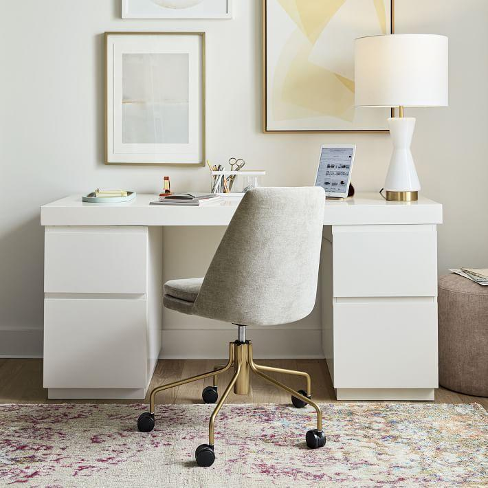 """<p><strong>West Elm</strong></p><p>westelm.com</p><p><a href=""""https://go.redirectingat.com?id=74968X1596630&url=https%3A%2F%2Fwww.westelm.com%2Fproducts%2Ffinley-swivel-office-chair-antique-brass-h5338&sref=https%3A%2F%2Fwww.bestproducts.com%2Fhome%2Fg33012977%2Fwest-elm-summer-home-decor-sale%2F"""" rel=""""nofollow noopener"""" target=""""_blank"""" data-ylk=""""slk:Shop Now"""" class=""""link rapid-noclick-resp"""">Shop Now</a></p><p><del>$399—$599</del><strong><br>$299—$599</strong></p><p>Want to upgrade your makeshift home office? Add a swivel chair to your cart. Not only is this option easy on the eyes, but it also has a subtly curved back to give you some extra support during the 9-to-5 grind.<br></p>"""
