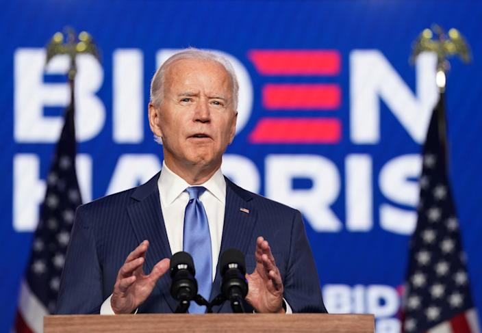 Joe Biden speaks about election results in Wilmington, Delaware, U.S., November 6, 2020. (Kevin Lamarque/Reuters)